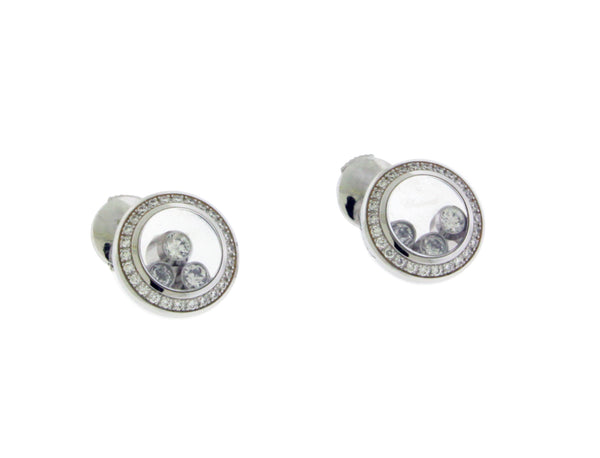 Chopard 839562-1002 18K white gold Happy Diamond VS1 F earrings