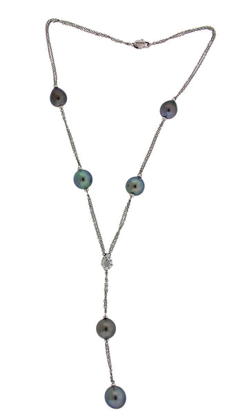 Damiani 18k white gold 12 mm South Sea pearl and daimond lariat necklace