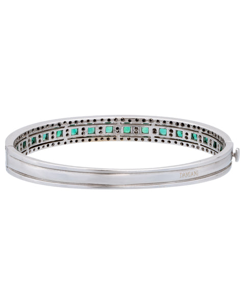 Damiani Damianissima 18k gold pave diamond & emerald bracelet bangle