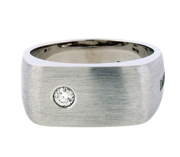 Damiani Men's diamond ring in 18 karat white gold, size 10.25.