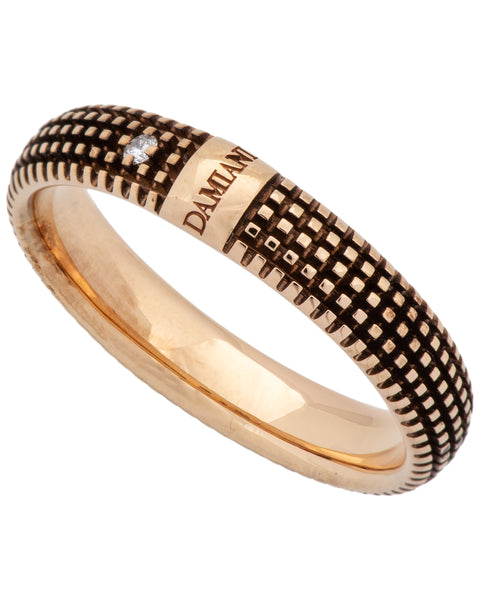Damiani Metropolitan dream 1 diamond 5mm band ring in 18 brown gold size 10.5