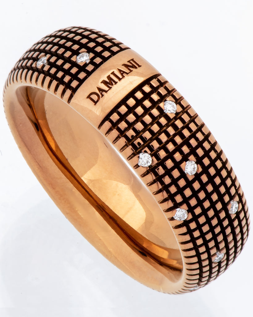 Damiani Metropolitan dream diamond 8mm band ring 18k brown gold size 10