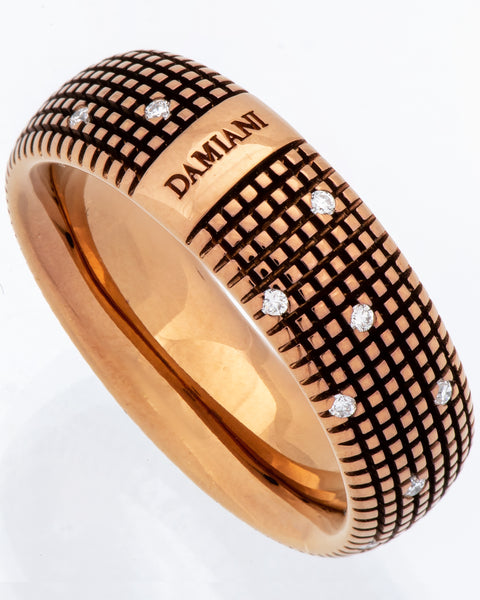 Damiani Metropolitan dream diamond 8mm band ring 18k brown gold size 10.5