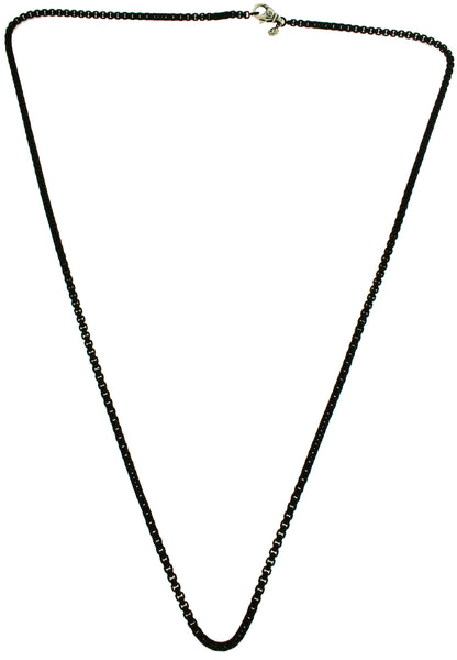 David Yurman 2.7 mm round box chain in black stainless steel 26 inches