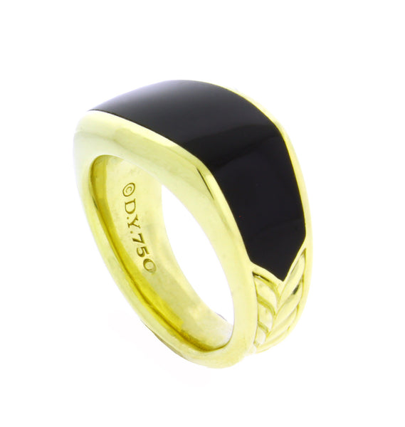 David Yurman 3 sided onyx ring in 18k yellow gold size 10