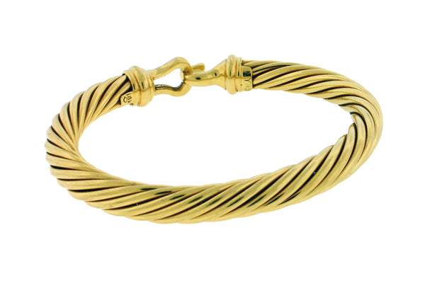 David Yurman Cable Classic Buckle bangle Bracelet with Diamonds 18K Gold 7mm