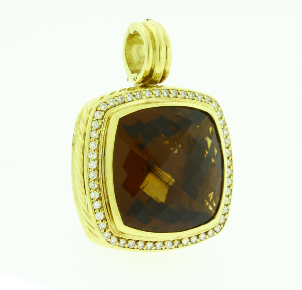 David Yurman extra large Champagne Citrine Albion enhancer pendant 18k gold