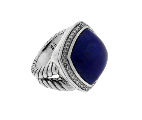 David Yurman sterling silver .33 CT pave diamond & lapis Albion ring size 6