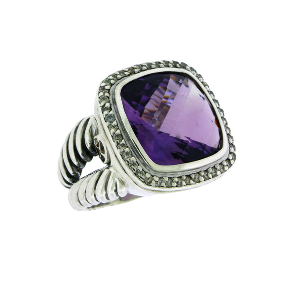 David Yurman sterling silver Diamond & amethyst Albion Ring size 6