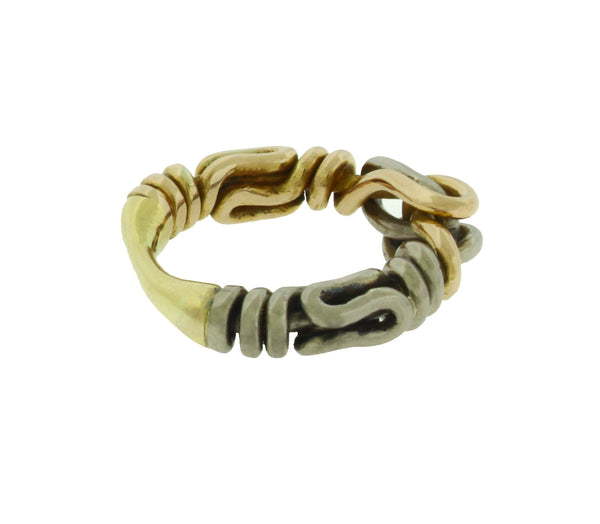 Designer brand HA twisted wire ring in 18k 2 tone gold