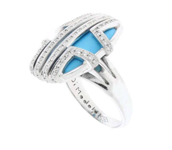 Di Modolo Favola Diamonds & Turquoise ring in 18K White Gold.