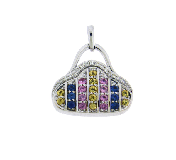 Diamond & multi color sapphire purse pendant in 18k white gold