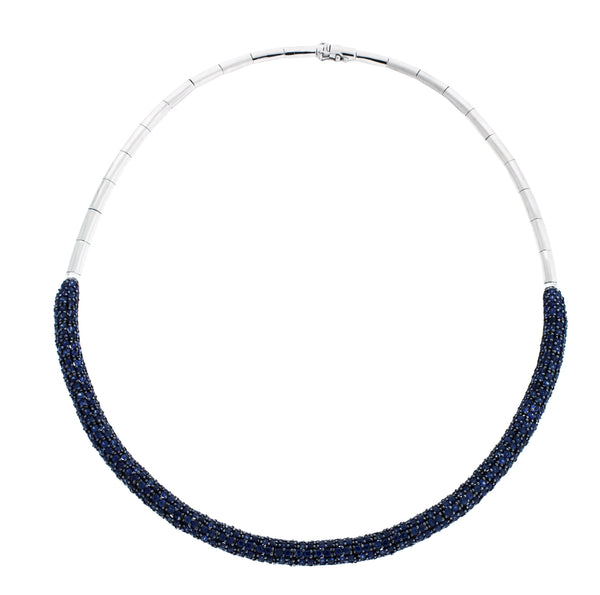 EFFY 14.07 carats sapphire necklace in 14k white gold 16 inches long