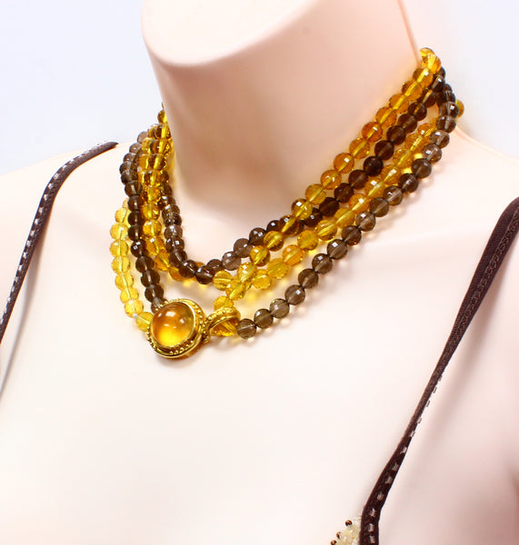 Elizabeth Locke citrine and smokey topaz necklace in 19k yellow gold 31""