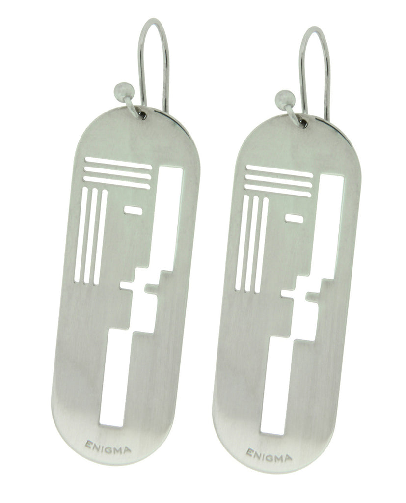 Enigma By Bulgari long earrings in sterling silver.
