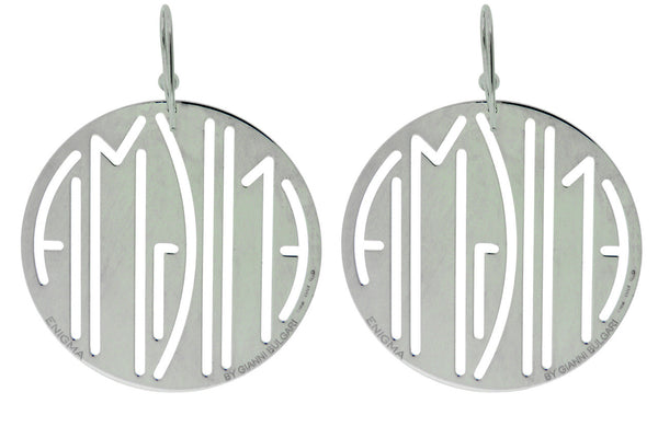 Enigma By Bulgari round earrings in sterling silver.