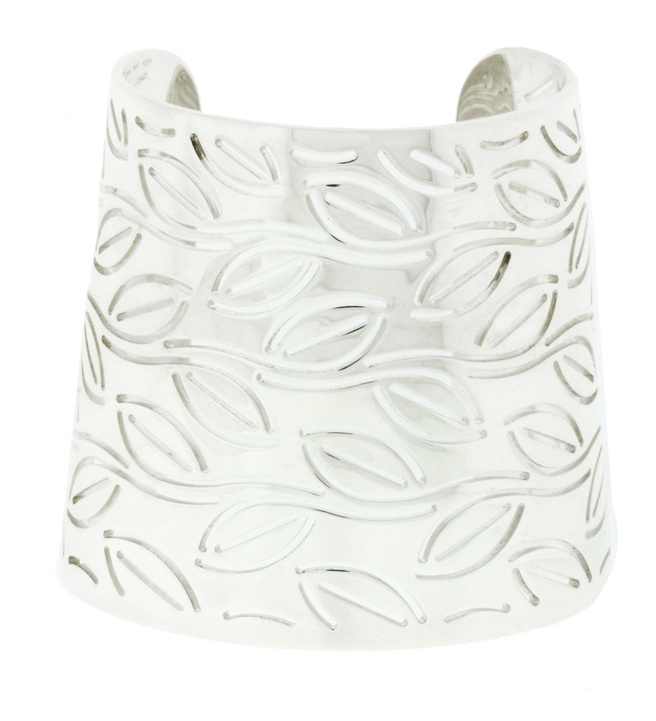Enigma By Bulgari wide leaves bangle in sterling silver.