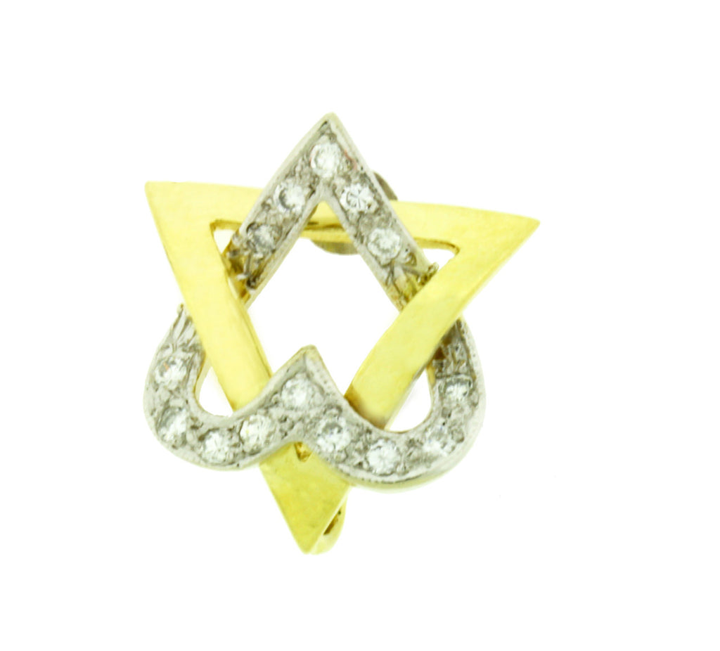 Diamond Jewish star pendant in 14k 2 tone gold.