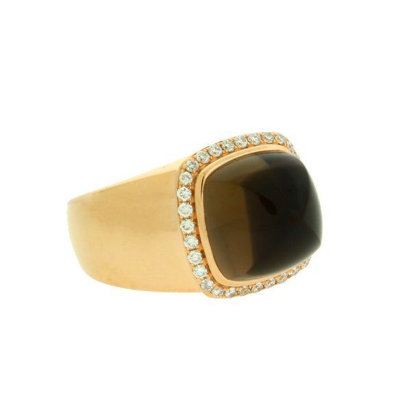 sale fred paris smokey quartz u0026 diamond ring in 18k rose gold