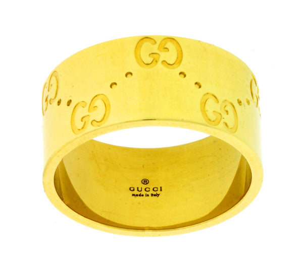 Gucci Icon band ring in 18k yellow gold new in Gucci box Size 14 USA 6.5
