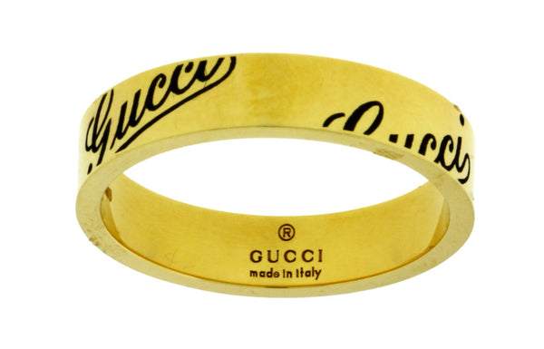 Gucci logo thin band ring in 18k yellow gold new in box Size 13 USA 6.5