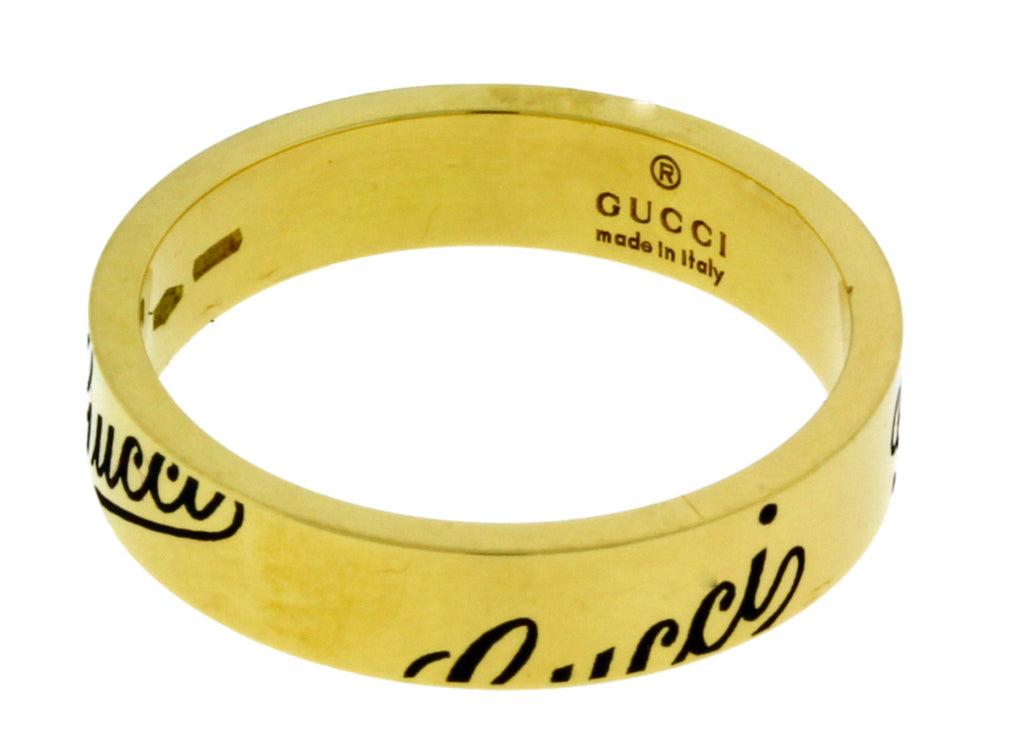 64b12a821a9570 ... Gucci logo thin band ring in 18k yellow gold new in box Size 12 USA 6  ...