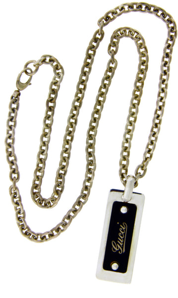 "Gucci dog tags / necklace in sterling silver new in Gucci box 24""."