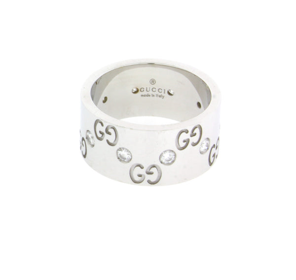 Gucci eternity diamond Icon wide band in 18k white gold