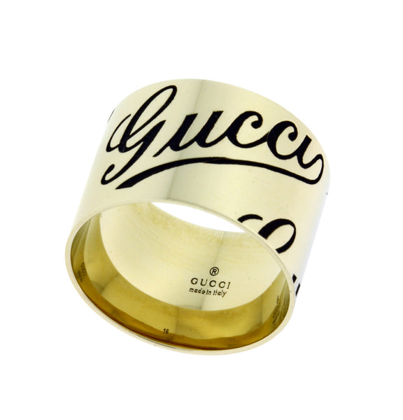 Gucci icon prints wide band ring in 18k white gold new in box Size 16 USA 7.25
