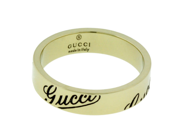 Gucci logo thin band ring in 18k white gold new in box Size 13 USA 6.5