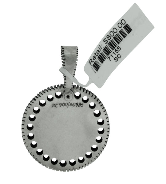 GURHAN Edge Shiny Men's large round pendant necklace in sterling silver