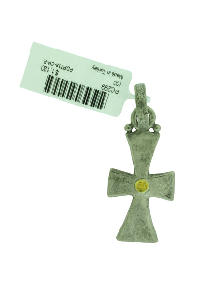 GURHAN Raw Cross pendant in sterling silver with yellow gold accent