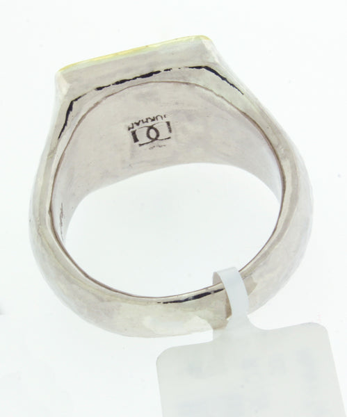GURHAN Sterling silver & palladium Buff square Lapis ring new w tag size 10.75