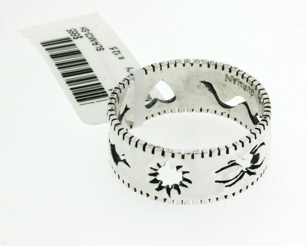 GURHAN sterling silver edge Stencil, Spider, Snake, Heart, Bat & sun band ring