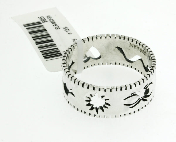GURHAN sterling silver edge Stencil, Spider, Snake, Heart, Bat & sun band ring size 12.5
