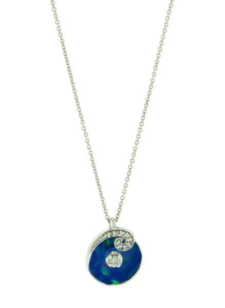 Galatea # A7 Illusia diamond swirl blue opal necklace in 14k gold.