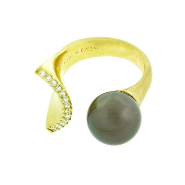Gellner Tahitian pearl & diamond ring in 18k yellow gold size 6.75