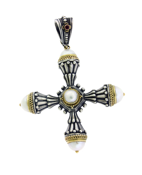 Gerochristo Santorini pearl Cross in 18k Yellow gold and Silver