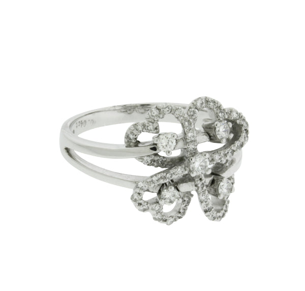 Giorgio Visconti diamond 4 hearts ring in 18k white gold size 6.75