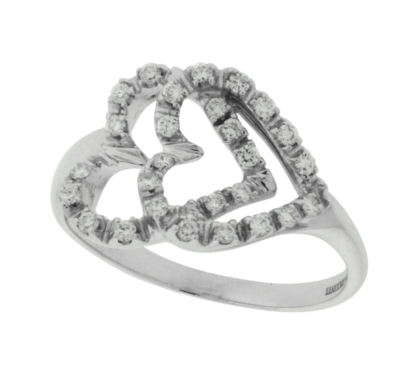 Giorgio Visconti diamond double heart ring in 18k white gold size 7.5