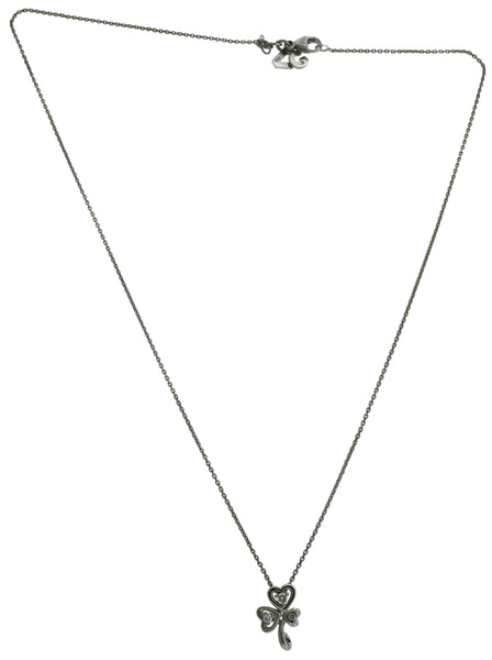 Giorgio Visconti diamond flower necklace pendant in 18k white gold 16""