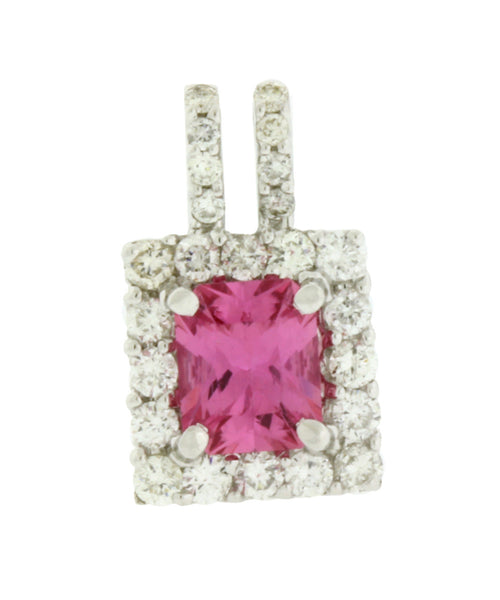 Gregg Ruth pink sapphire diamond pendant in 18k white gold.