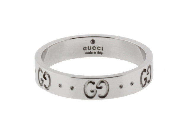 Gucci Icon thin band band ring in 18 karat white gold new in box size 5.25