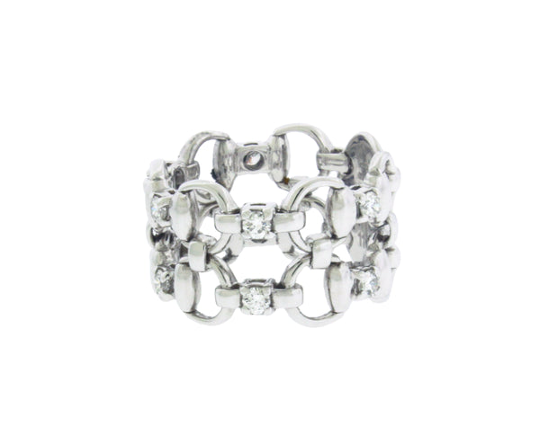 Gucci Double Horsebit diamond Ring in 18k white gold NIB Size 5.5 Authentic
