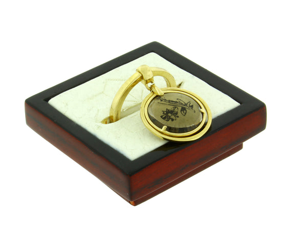 Gucci Flora 18k yellow gold smoky quartz charm ring new in Gucci box Size 6.75
