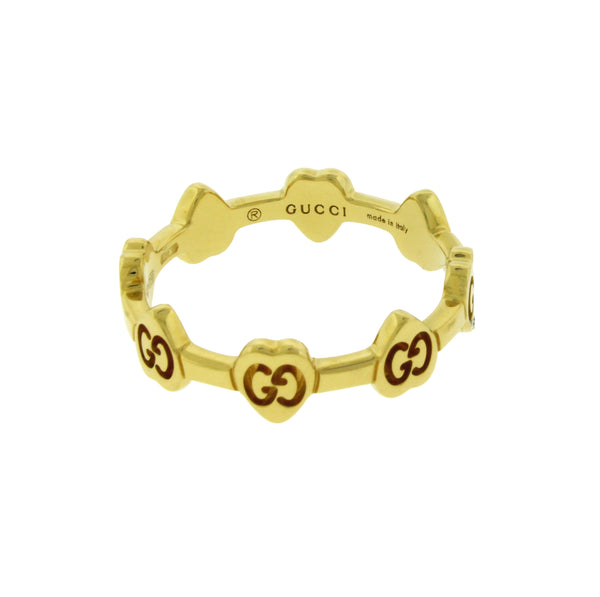 Gucci logo thin band ring in 18k yellow gold new in box Size 8.5