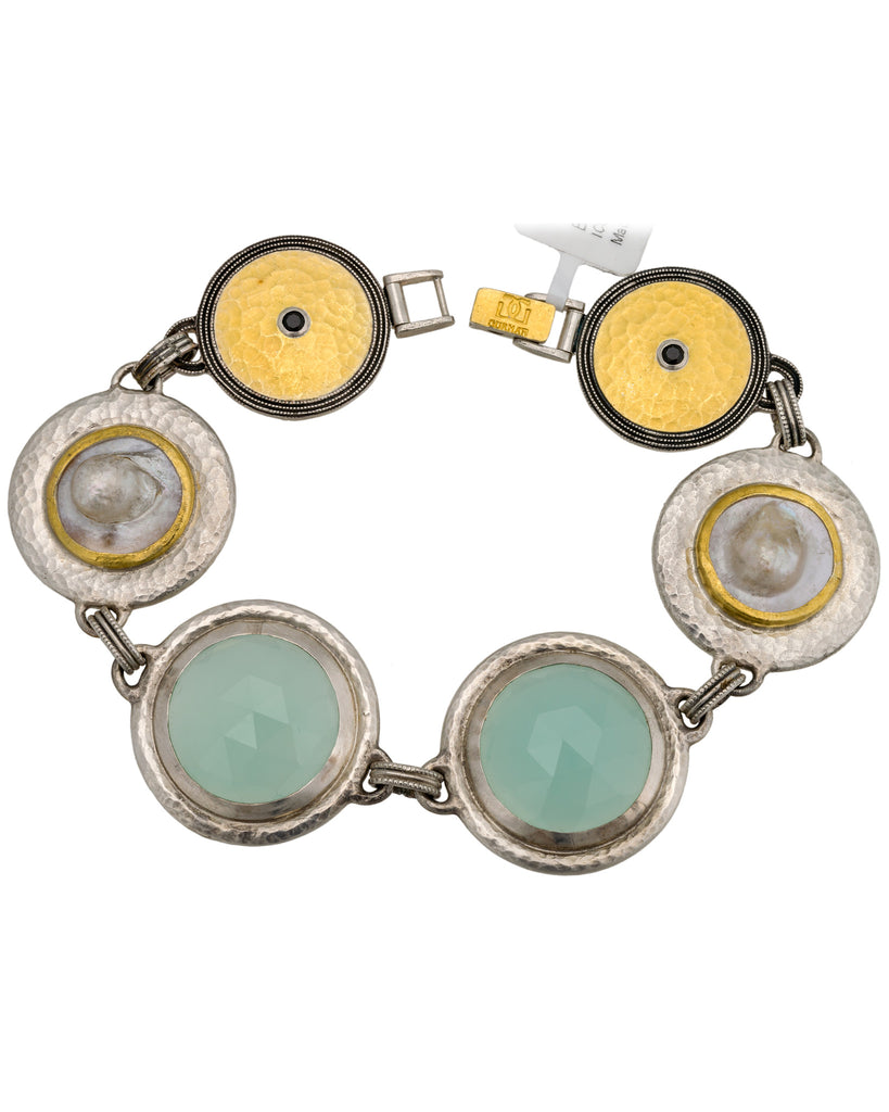 Gurhan Galapagos 24k & Silver Chalcedony, Shell, Black Spinel Bracelet
