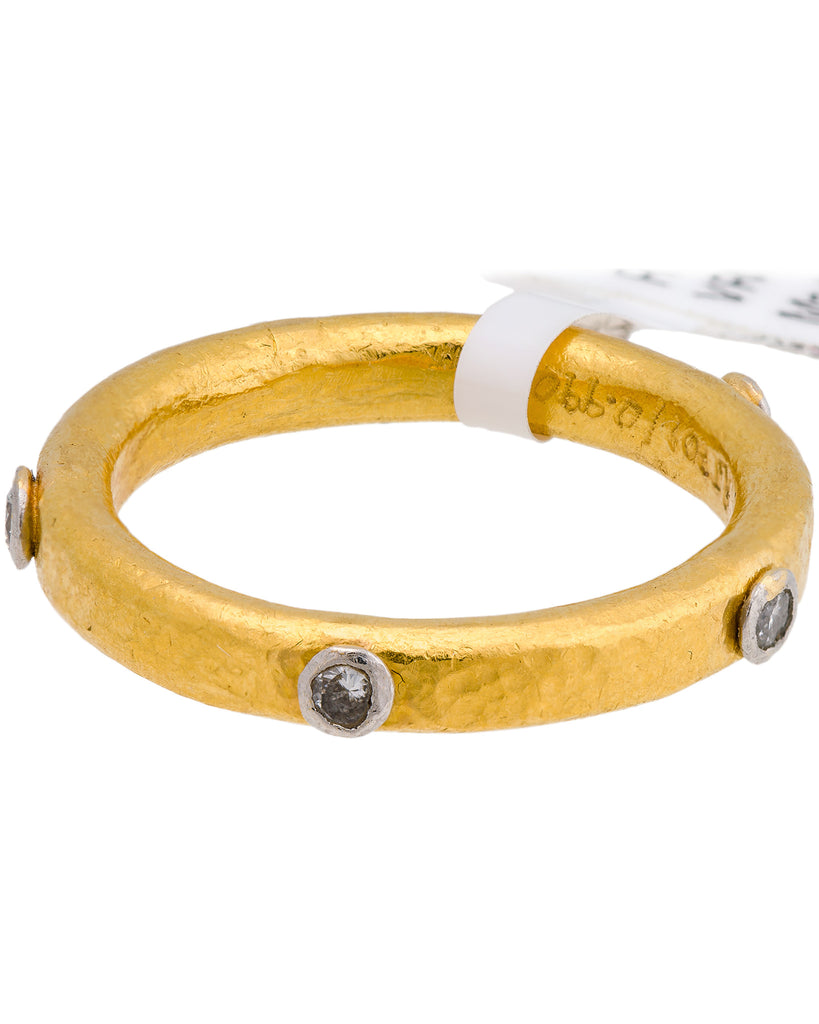 Gurhan Hoopla Diamond 24k Pure Yellow Gold 5 Diamond Ring New W Tag Size 4.25