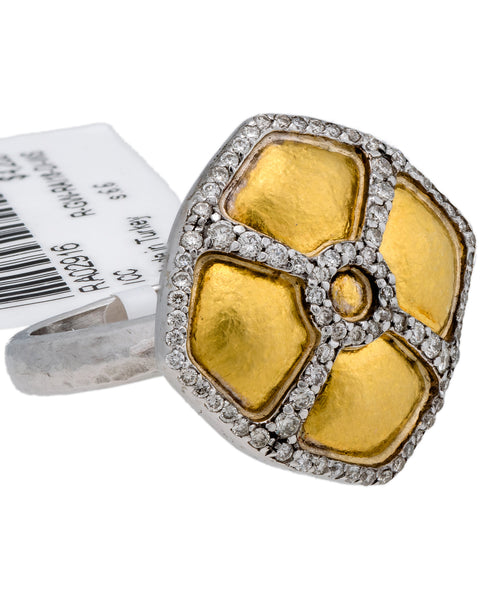 Gurhan Raison ring in 24k & 14k Gold .41CT VS G Diamond Size 6.75