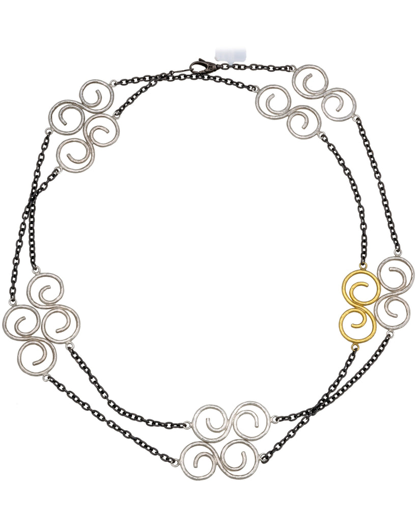"Gurhan Vortex Yellow gold and Silver S Shape Tri Tonal long Necklace 41"" NWT"